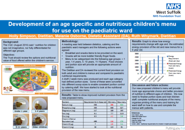 Development of an age specific and nutritious childrens menu for use on the paediatric ward