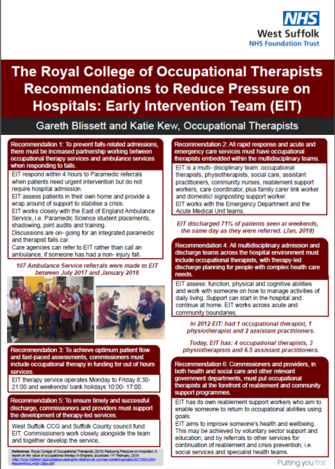 The Royal College of Occupational Therapists Recommendations to Reduce Pressure on Hospitals EIT